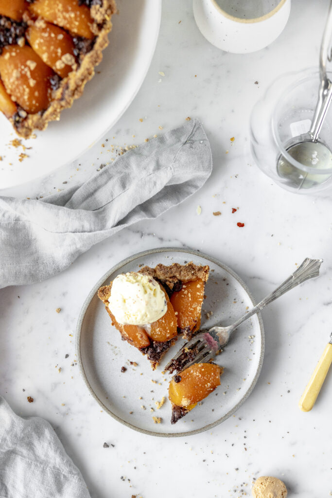 pie with peaches and chocolate