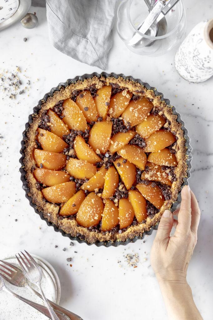 crostata with peaches and amaretti