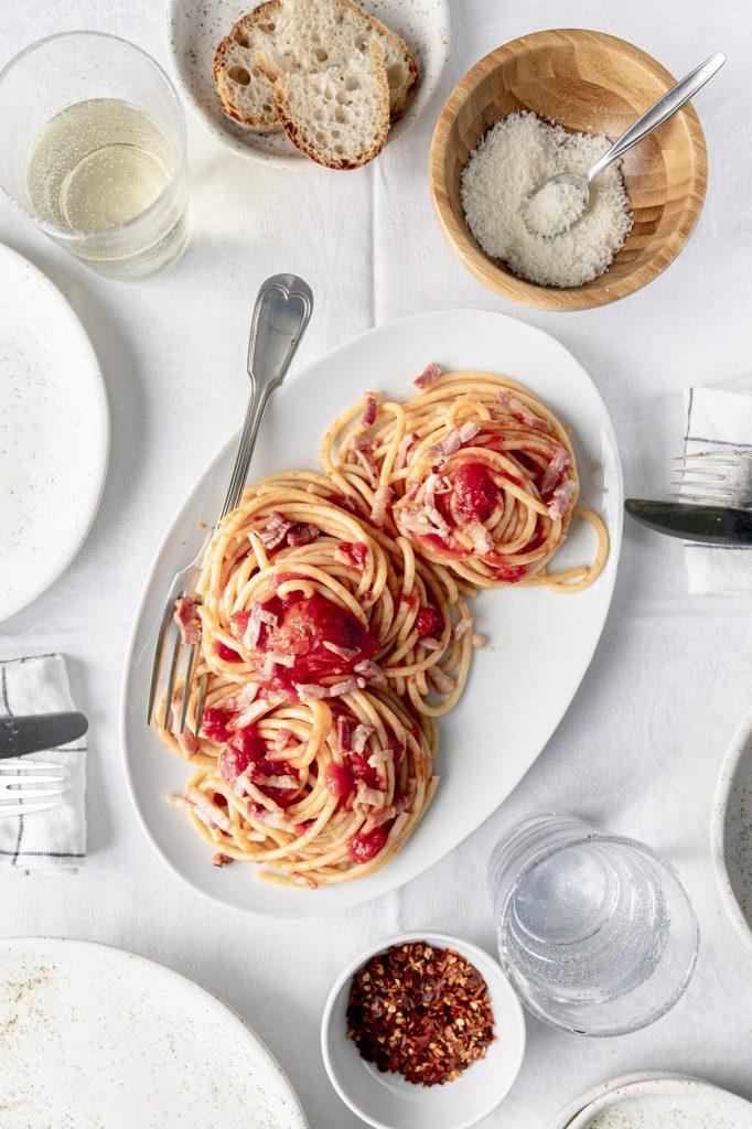 The genuine recipe for bucatini all'amatriciana