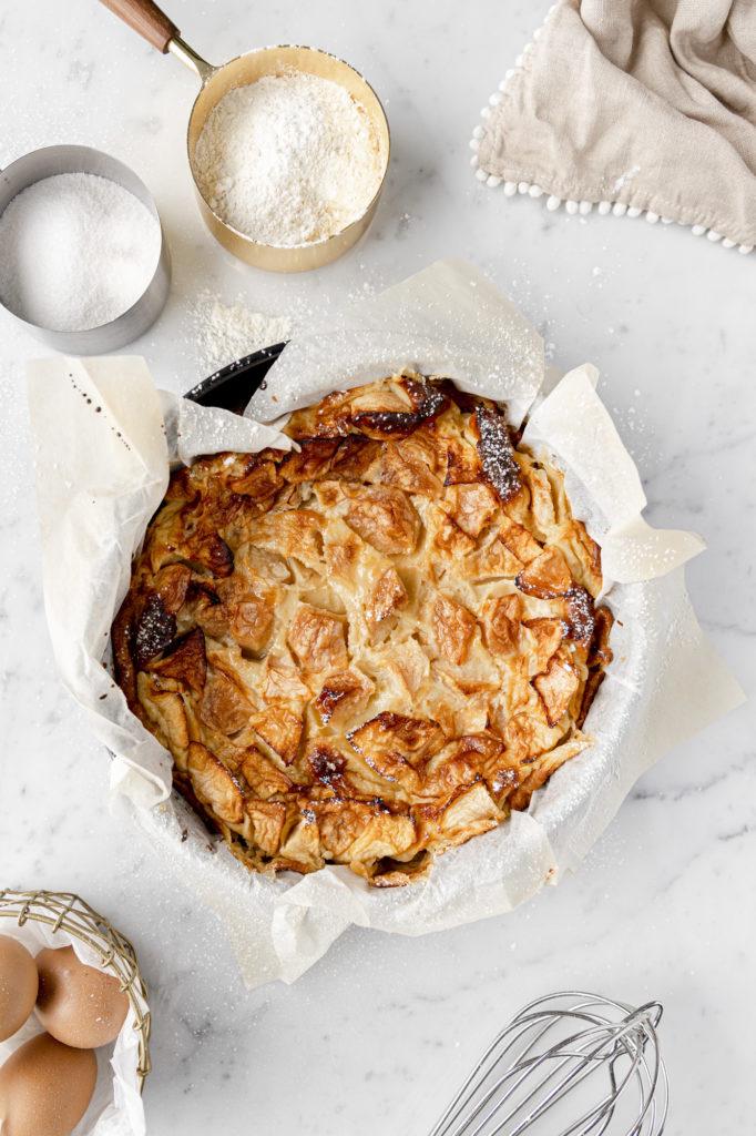Trentino milk and apple cake without baking powder