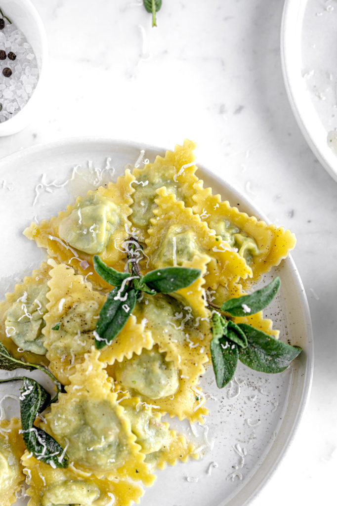 Italian stuffed ravioli with butter and sage