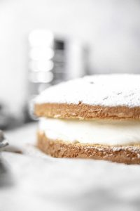 Torta Margherita fille with milk cream