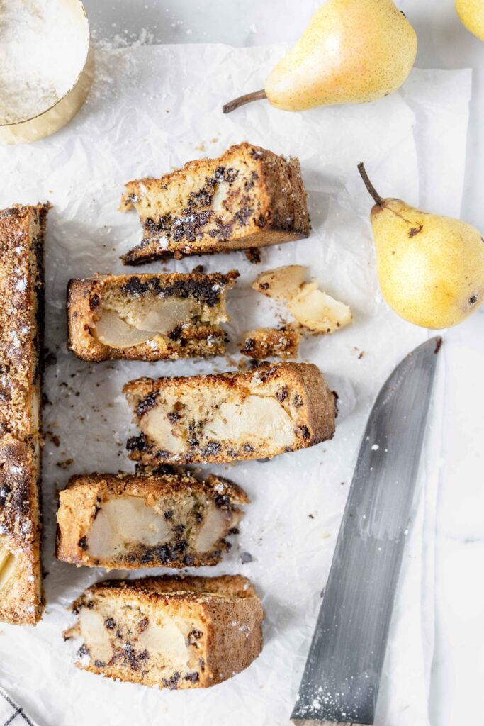 Pears and chocolate cake