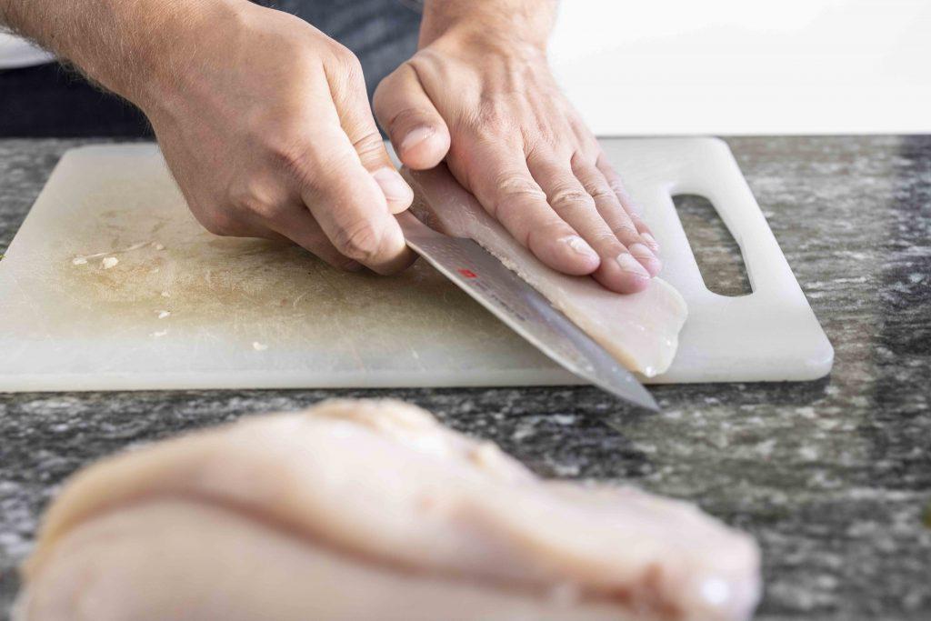 alex cutting chicken breast